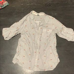 Long sleeve classic button down shirt with foxes